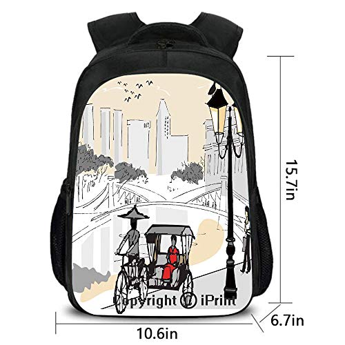 Business Lightweight Backpack,Sketch Singapore City Silhouette with Local People Asian Town Illustration,School Bag :Suitable for Men and Women,School,Travel,Daily use,etc.Light Grey Cream Red