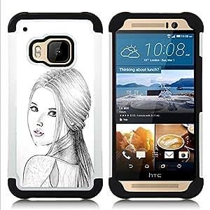 """HTC One M9 /M9s / One Hima - 3 en 1 impreso colorido de Altas Prestaciones PC Funda chaqueta Negro cubierta gel silicona suave (Mujer Rusa Moda Señora Lápiz"""")"""
