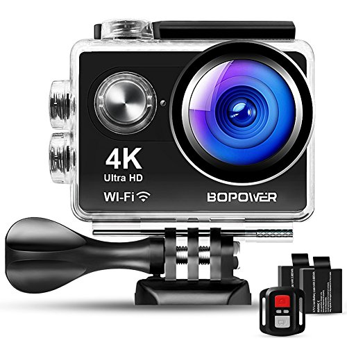 4K Action Camera, Bopower 60fps WiFi Sport Anti-Shake Waterproof 30m Camera with 10m Wireless Remote, Full HD 2.0