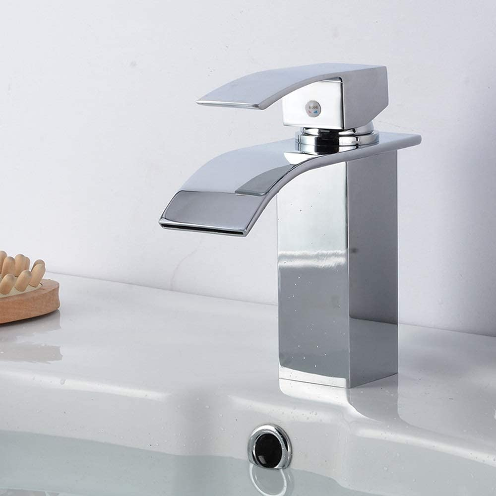 7.5cm You Deserve to Have 24 YiCan Four-Sided Basin Faucet//Wide Mouth Waterfall Faucet//Bathroom Basin Hot and Cold Faucet Brass//Ceramic Valve Core High Temperature 21