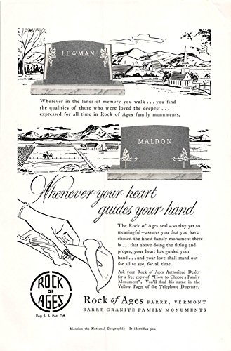Print Ad 1954 Rock of Ages Barre Vermont