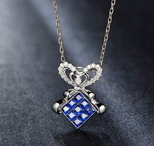 Solid 18k White gold Pendant,0.1ct SI-H Diamond pendant for necklace,0.8ct Princess Natural Blue Sapphire,channel set