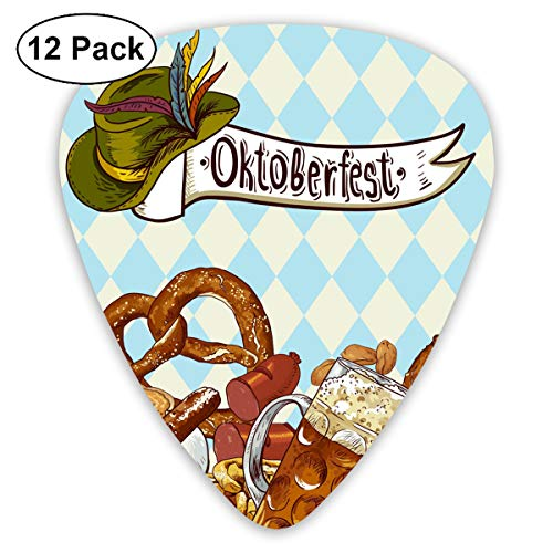 NaiNain Bread Pretzel Carnival Partying Classic Celluloid Guitar Picks (12 Pack) for Electric Guitar, Acoustic Guitar,Plectrums for Guitar Bass