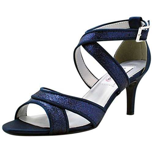 Davids Bridal Brillo Cruzado Cruzado Medio Tacones Estilo 54616 Azul Marino