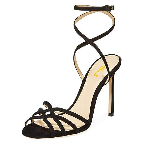 89292babec FSJ Women Strappy Open Toe Stiletto High Heels Ankle Wrap Dress Sandals  Cutout Prom Shoes Size