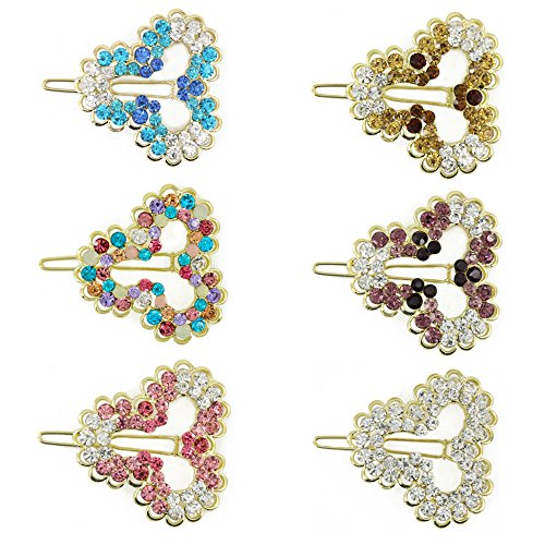 Kaide Heart Shaped Rhinestone and Crystal Hair Barrette Clip Hairpins Hair Accessary for Girls and (Rhinestone Heart Hair Pin)