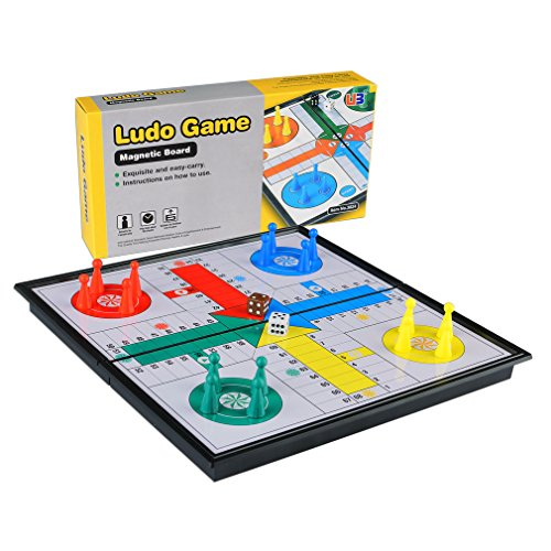 Folding Travel Magnetic Ludo Set, 9.75 Inches (4 Sided Marble)