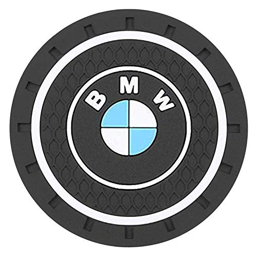 Carhome01 Car Logo Cup Holder Coaster for BMW Accessories, 2.8 Inch Anti Slip Mat Auto Interior Decoration Pad (2PCS)