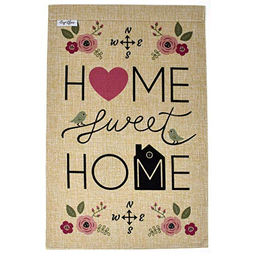 Home Sweet Home Premium Garden Flag Banner - 12x18 Double Sided Burlap Flag for Decorative use Indoor or Outdoor - Welcome Your Guests and Showcase Your Home - Fits Garden Flag Pole