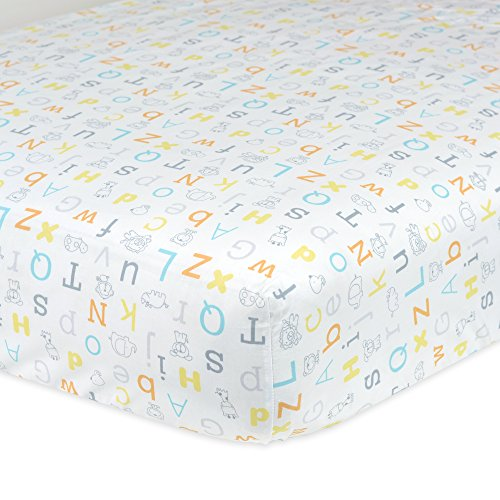 Gerber 100% Cotton Fitted Crib Sheet, (Alphabet Cotton Crib)