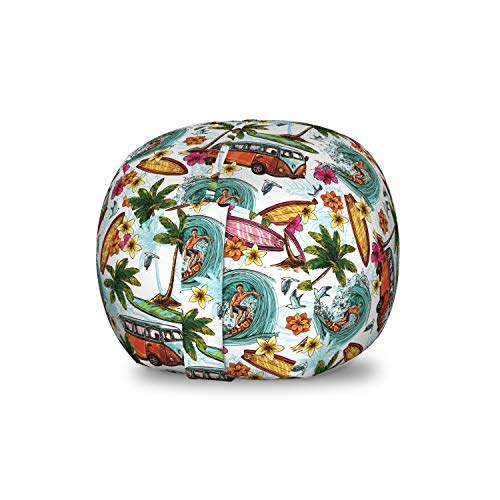 Ambesonne Abstract Storage Toy Bag Chair, Surf Themed Vibrant Image Vintage Van and Flower Arrangement Seagulls Action Hobby, Stuffed Animal Organizer Washable Bag for Kids, Small Size, Multicolor from Ambesonne