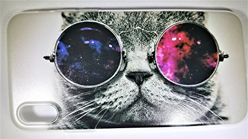 iPhone X Case by FOLE, iPhone 10 Case, Shock Absorbing, Reinforced Soft Flexible, TPU Frame, Clear Transparent with Kitty Cat Meow With Vintage Sunglasses Design, Slim Fit, - Latest Sunglasses Trends