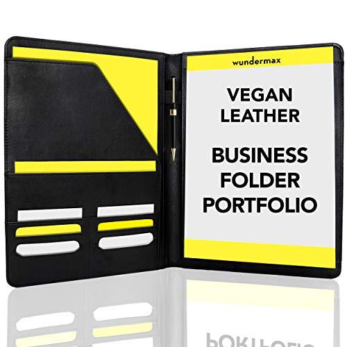 - Wundermax Padfolio Portfolio Leather Folder Business Folder Professional Interview PU Leather Padfolio Resume Holder Portfolio Notebook Business Portfolio for Men and Women
