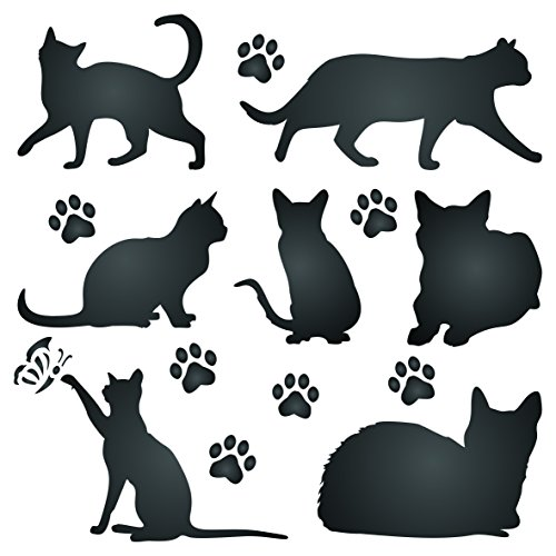 Cat Silhouette Stencil - 6.5 x 6.5 inch (M) - Reusable Pet Friend Animal Wall Stencil Template - Use on Paper Projects Scrapbook Journal Walls Floors Fabric Furniture Glass Wood etc. ()