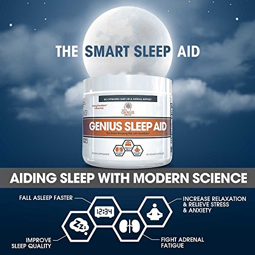 GENIUS SLEEP AID – Smart Sleeping Pills & Adrenal Fatigue Supplement, Natural Stress, Anxiety & Insomnia Relief - Relaxation Enhancer and Mood Support w/Inositol, L-Theanine & Glycine – 40 capsules by The Genius Brand (Image #3)'