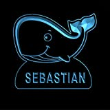 ws1037-0694-b SEBASTIAN Whale Night Light Nursery Baby Kids Name Day/ Night Sensor LED Sign