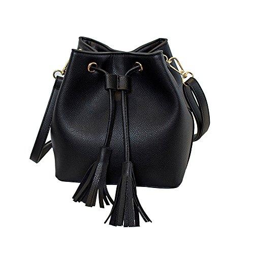 FXTXYMX Women Vintage Drawstring Buckets Mini Shoulder Handbags Messenger Bags Bucket Bag (Black)