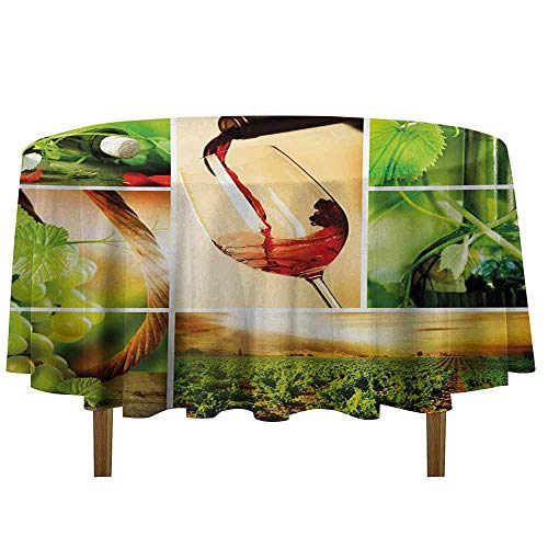 DouglasHill Wine Washable Tablecloth Wine Tasting and Grapevine Collage Green Fresh Field Pouring Drink Delicious Dinner Picnic Home Decor D35 Inch Green Ruby Caramel