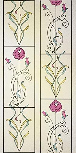 48 x 60 Floral Stained Glass Window Film. - Window Film 48 X