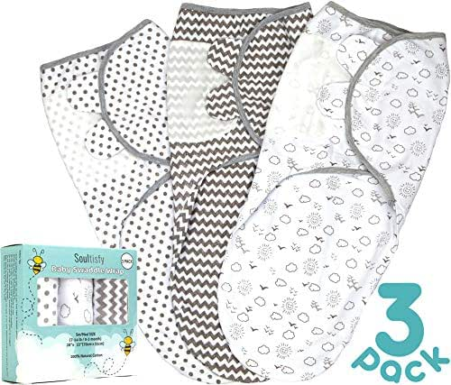Baby Swaddle Wrap Sack (Set of 3) for Newborn and Baby (0-3 Months) - 100% Premium Breathable Soft Cotton - Gray Unisex Design for Boy & Girl - Adjustable Infant Swaddle Blanket