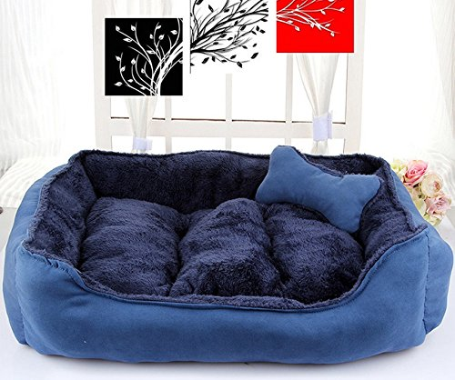 bluee 70x60cm bluee 70x60cm ZXPzZ Kennel Pet Bed Small And Medium Dog Bed Cat House Pet Pad Dog Supplies Comfortable And Soft Cotton Material Wool Mat Four Seasons Universal (color   bluee, Size   70x60cm)