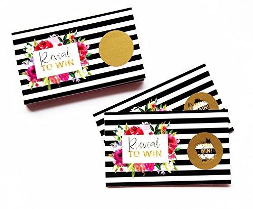 Bridal Semi Set - Bold Floral & Black Stripe Scratch Off Game Card Set Baby Shower or Bridal Activity