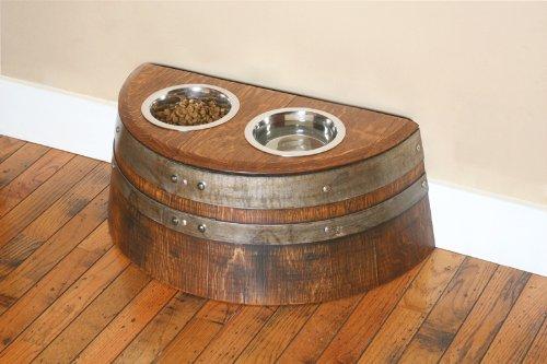 Wine Barrel Creations Raised Dog or Cat Food Bowl Made From Recycled Wine Barrel by Wine Barrel Creations