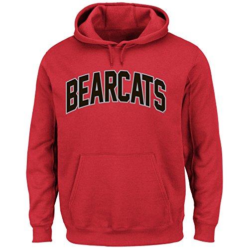 NCAA University of Cincinnati Men's Cheering Them Long Sleeve Hooded Pullover Jacket, Red, X-Large - Fleece Cincinnati Reds Pullover