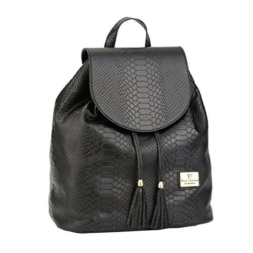WALTER VALENTINO - exclusive, handgefertigte Echtledertasche mit Prägung, Made in Italy- 35x31x17 cm, schwarz 6280WV-300