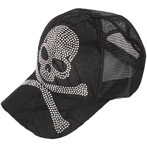 (RaOn M65 Black Gold Silver Cubic Stud Metal Skull Club Punk Mesh Hat Trucker Ball Cap (Bone-Silver))
