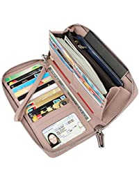 Women's RFID Blocking Wax Real Leather Zip Around Wallet Clutch Large Travel Purse
