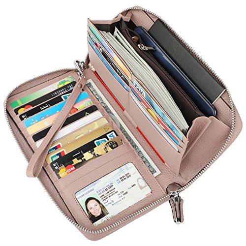 Dante Women's RFID Blocking Pebbled Real Leather Zip Around Wallet Clutch Large Travel Purse(Large Size Dark Pink)