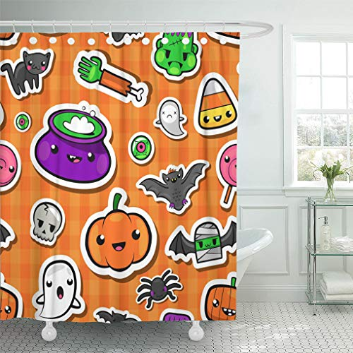 Emvency Shower Curtain Bright Black Cute Halloween in Lovely Kawaii Bat Broom Shower Curtains Sets with Hooks 60 x 72 Inches Waterproof Polyester -