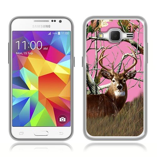 Samsung Galaxy Core Prime G360 Prevail LTE Case, Fincibo (TM) TPU Silicone Protector Cover Soft Gel Skin, Pink Deer Hunter