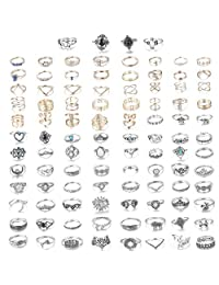 Adramata 10 set Knuckle Rings for Women Vintage Bohemian Stackable Rings Set Mid Finger Rings