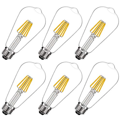 COOWOO LED Edison 60W Equivalent Halogen Replacement Dimmable E26 Base Vintage Filament Pendant 2700K Warm White 6W Antique Commercial Island Light Bulbs with 600lm 6 Pack b, Count