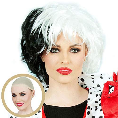 Cruella Deville Costumes For Kids - Cruella De Vil Costume Wig Fits Adult & Child Short Black White