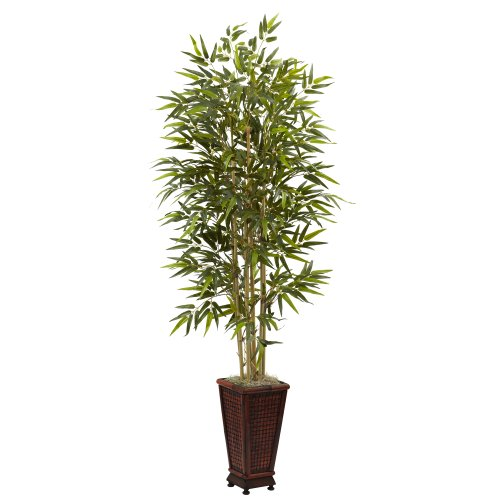 Nearly Natural 5922 6-Feet Bamboo Tree with Decorative Planter, Green by Nearly Natural