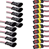 Etopars™ 10 X 2 Pin Way Car Auto Waterproof Electrical Connector Plug Socket Kit with Wire AWG Gauge Marine