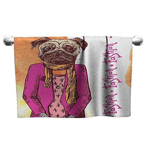 Outdoors Microfiber Quick Dry Travel TowelPug,Fashion Icon Dog with Cool Clothes Scarf Necklace Jacket Handbag Tainted Background, Hot Pink Amber Washcloths Multi purpose Microfiber, -
