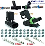 delphi electrical connectors - Delphi Packard 12 Completed Set (2 Circuits) Weatherpack, Waterproof, Terminal Kit 14, 16 AWG