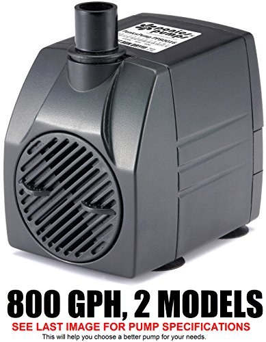 Gph Waterfall (PonicsPump PP80016: 800 GPH Submersible Pump with 16' Cord - 60W… for Hydroponics, Aquaponics, Fountains, Ponds, Statuary, Aquariums, Waterfalls & more. Comes with 1 year limited warranty.)