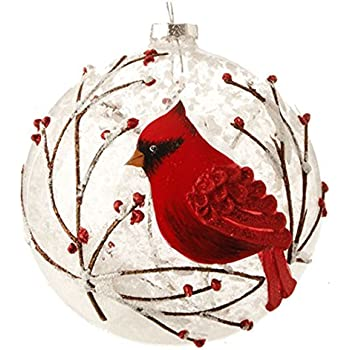snowy red cardinal branches glass ball christmas tree ornament 5 inches by raz imports