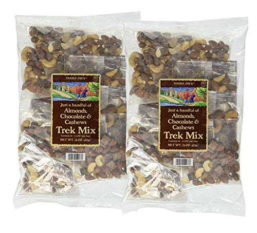 Trader Joe's Just a Handful of Almonds, Chocolate, and Cashews Trek Mix Individual Bags: 2 Pack – 20 Count (30 oz.)
