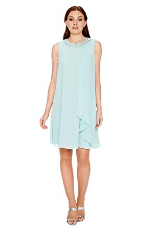 70162c783093c Roman Originals Women Embellished Neck Chiffon Midi Dress - Ladies A-Line  Chiffon Sleeveless Babydoll Wedding Mother of Bride Guests Summer Daytime  Smart ...