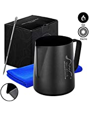 Milk Frothing Pitcher, Stainless Steel Creamer Non-Stick Teflon Frothing Pitcher 12 oz (600 ml), Matte Finish …