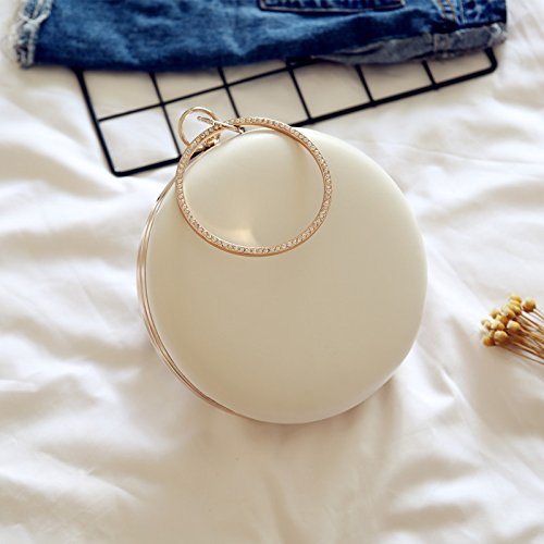 Evening for Round White Formal Missfiona Gift Bag Clutch Leather PU Women's Her Prom Hardbox HxBI6