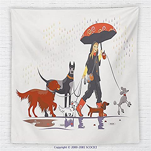 59 x 59 Inches Dog Lover Decor Fleece Throw Blanket Young Modern Girl Taking Pack of Dog for a Walk in the Rain Fun Joyful Times Artsy Print - Magenta Twin Pack