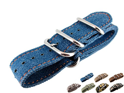 22mm Watch Strap Zulu NATO Band Watchband Premium Canvas Sports Military Army 3 Solid Polishing Round Ring Buckle Wrist Length 150 to 220mm 1.8mm Thickness Fashion JRRS7777 (Denim Blue)