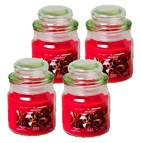 Set of 4 Starlyte Food & Aroma Scented 3 Oz Natural Soy Blend Candles In Apothecary Jar W/Li ...